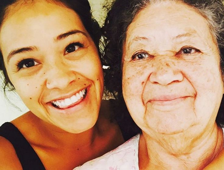 Gina Rodriguez and her grandmother who she says taught her how to be a strong, positive female.