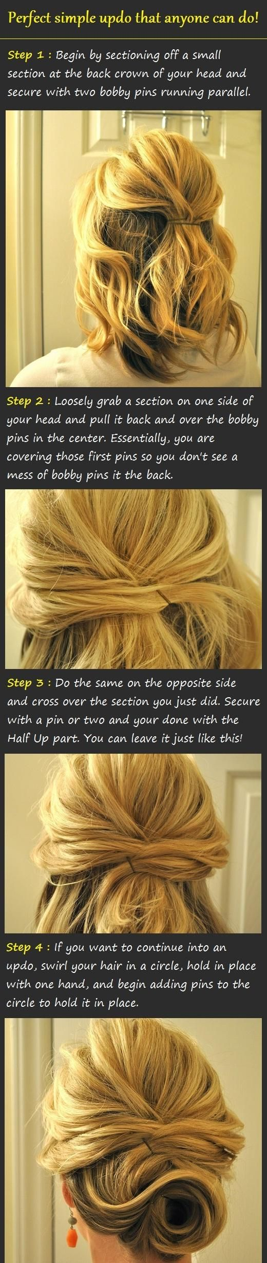 Simple updo; my hair might be too long for this, but I'm gonna try it