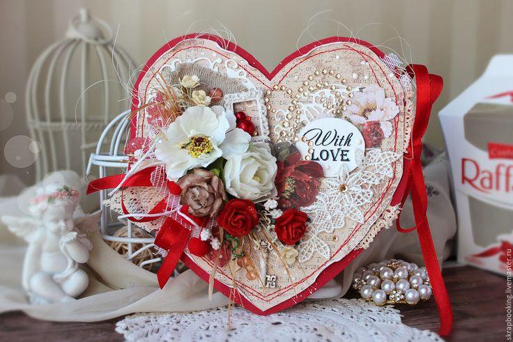 Купить Валентинка - валентинка, Скрапбукинг, День Святого Валентина, открытка, сердечко, для девушки, подарок