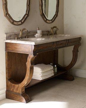 Ambella - Open Double-Sink Vanity & Faucet - traditional - bathroom vanities and sink consoles - Horchow