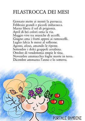 Gennaio Mette Ai Monti La Parrucca Filastrocca Da Stampare