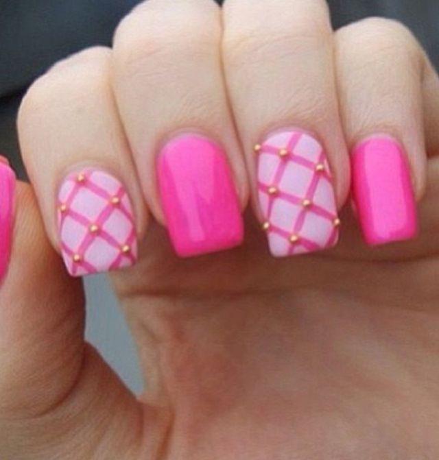 Stylish-pink-nail-art-ideas-2-tone
