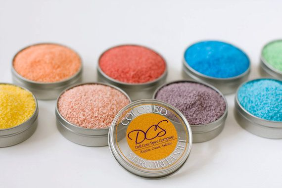 Colored margarita salt - YOU PICK four colors from our long list of hand-crafted margarita salts! (Photo by Selena Vallejo)