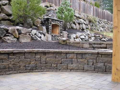 74 best retaining walls images on pinterest retaining for Stone retaining wall ideas