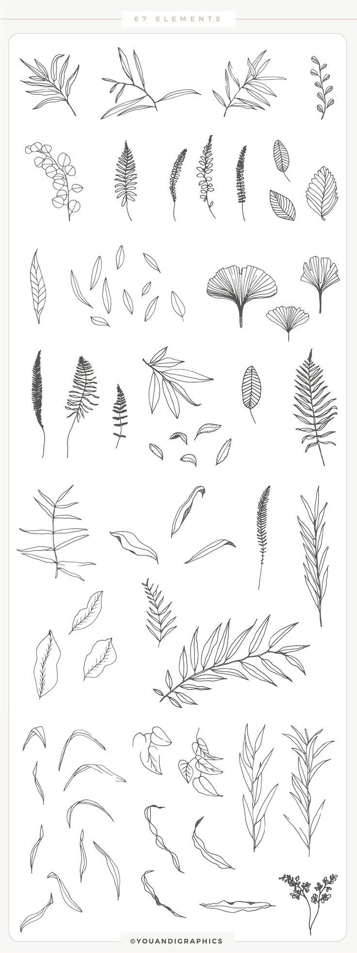Romantic Leaves Collection – lovely romantic set, the elements are hand drawn an… – Fatima