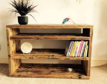 Items similar to Slimline rustic oak solid wood narrow Plasma LCD TV stand unit table finished in f & b down pipe on Etsy