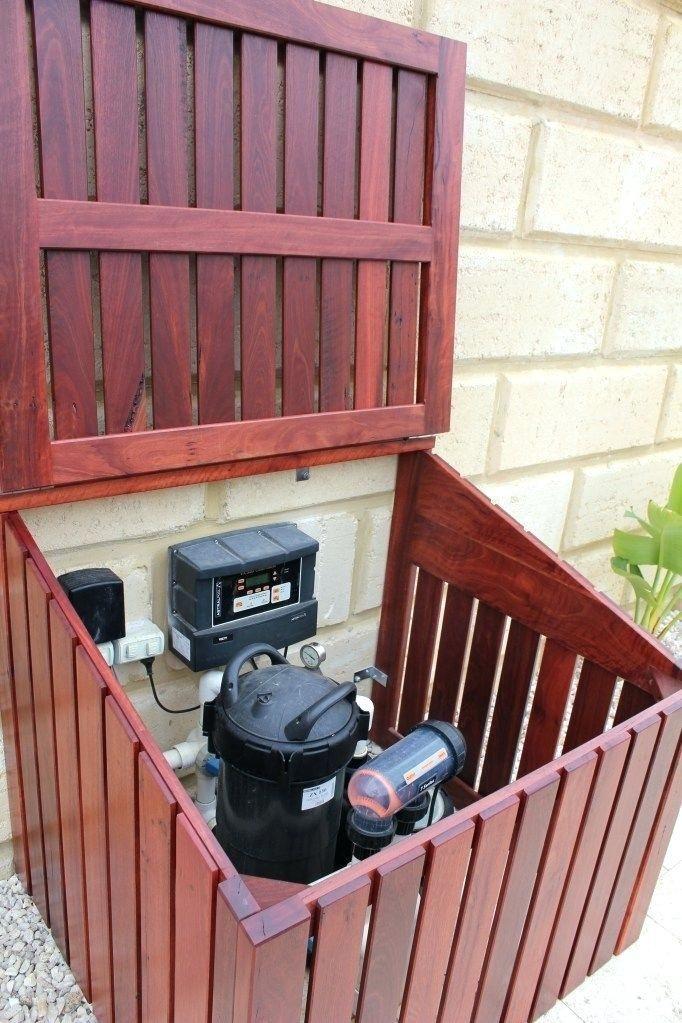 pool pump shed ideas hinged lid on pool pump enclosure