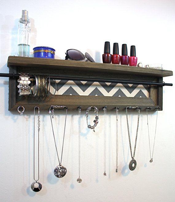 Jewelry Organizer Shelf 24 x 6 1/2 Rustic Barnwood  by hudsonlace, $49.99