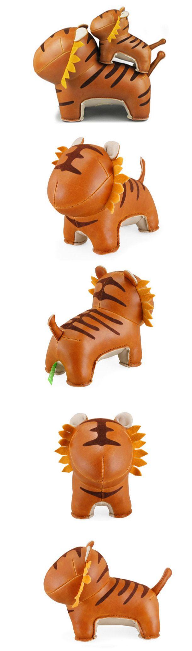 Handmade Cute Animal Leather Stuffed Tiger Home Decoration
