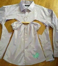 Reciclar camisa de hombre. Vestido para nena, hermoso