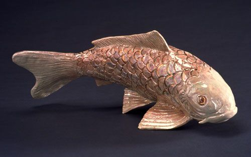 Japanese koi fish sculpture in clay gin matsuba pisces for Clay koi fish