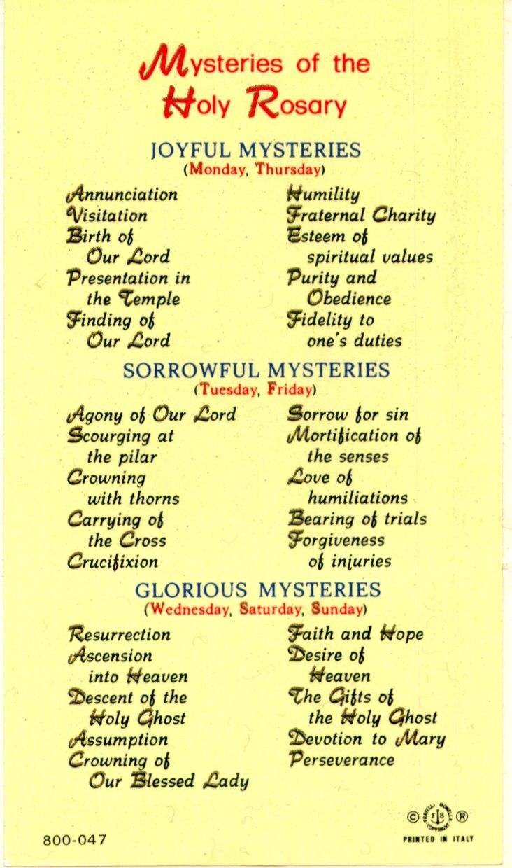 Mysteries of the Rosary Laminated Holy Card #800047 (the stained glass windows in my church depicts the Mysteries of the Holy Rosary) Does not include the Luminous mysteries.