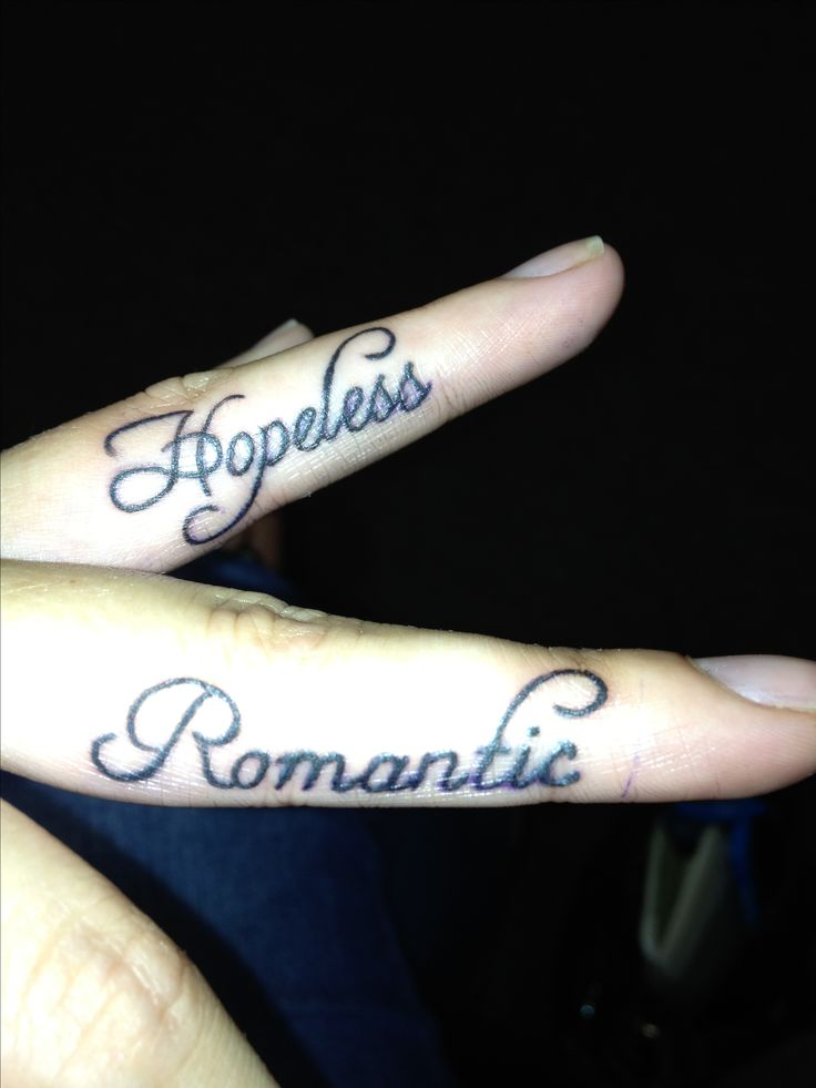 hopeless romantic finger tattoos tattoo it up pinterest beautiful romantic and fonts. Black Bedroom Furniture Sets. Home Design Ideas
