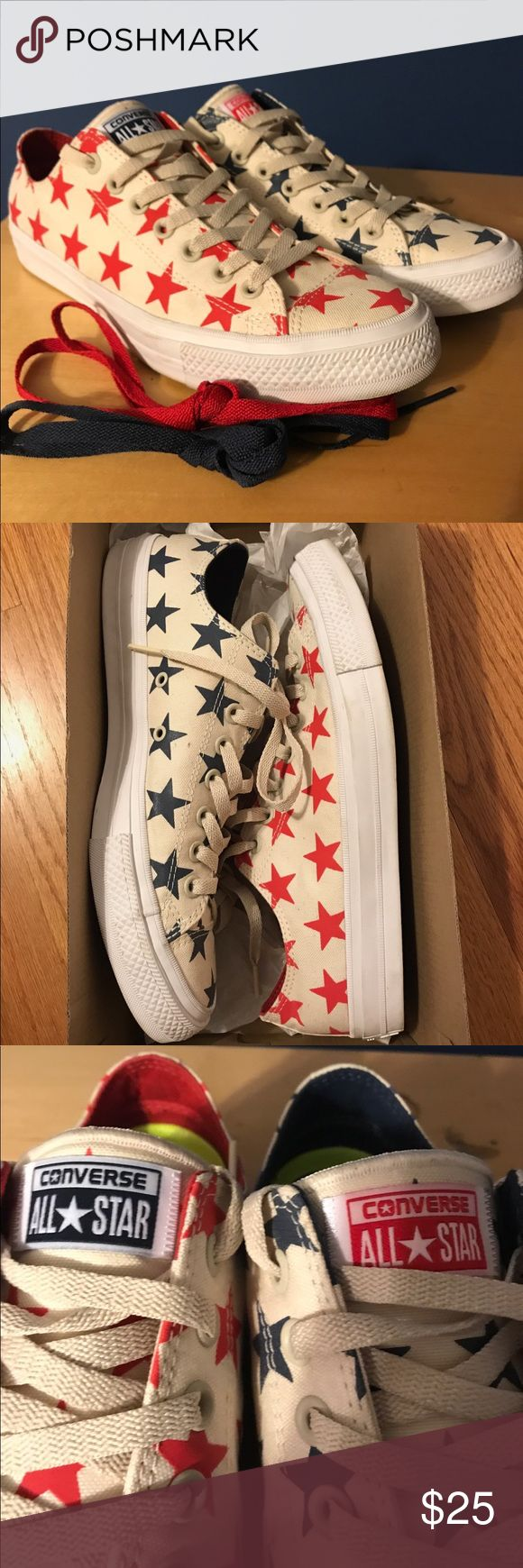 Converse Sneakers American Flag Star converse sneakers, uni sex, barely worn, comes with original box and a pair of white laces and red and blue laces (size under girls size but has both sizes in one picture) Converse Shoes Sneakers
