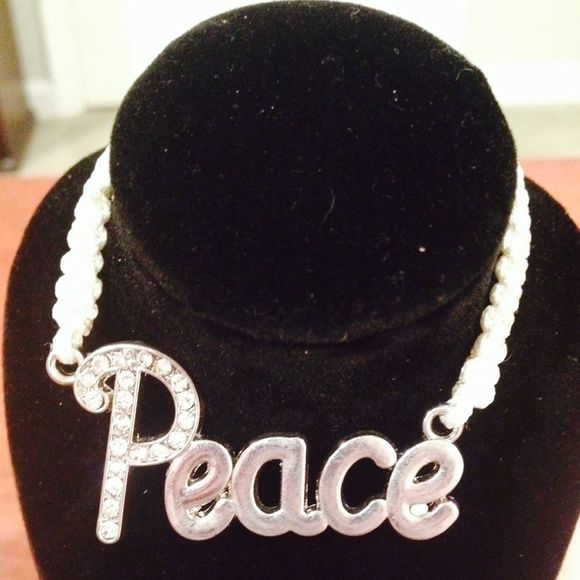 5️⃣ for 💲20 • White Peace Bracelet Excellent Condition | Never Used | Brand New | All White Thread | Silver & Faux Diamonds Peace Pendant | Adjustable Shamballa Design |🚫 Trades | Feel Free to Ask Questions🙋| More 📷 Upon Request | Bundles & Offers are Welcomed❤️| Glitzy Chiks Jewelry Bracelets