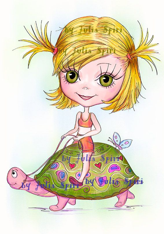 Digital Stamps. Girl on a Turtle by JuliaSpiri on Etsy #stamp #scrapbooking #digital #stamps #digi #coloring #pages #line #art #doll #girl #craft #etsy #download #printable