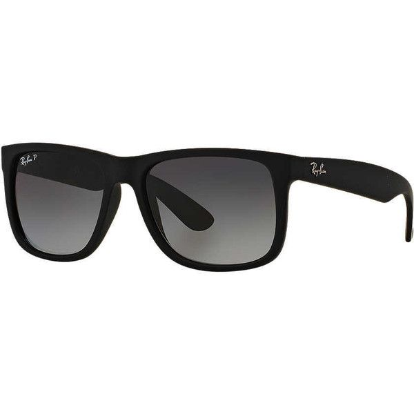 Ray-Ban Rb4165 54 Justin Black Rectangle Sunglasses ($150) ❤ liked on Polyvore featuring accessories, eyewear, sunglasses, ray-ban, black lens sunglasses, black wayfarer, wayfarer sunglasses and wayfarer style sunglasses