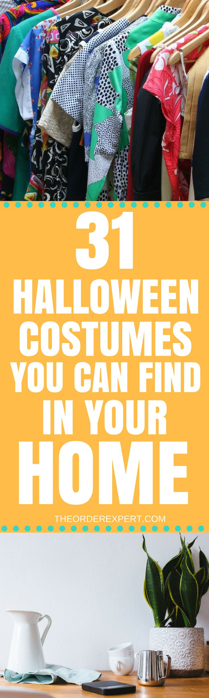 Quick Halloween costumes you can find in rooms of your home! Dress up with this list of clever and easy to make Halloween costumes. Pin now and read later! | 31 Halloween Costumes You Can Find in Your Home