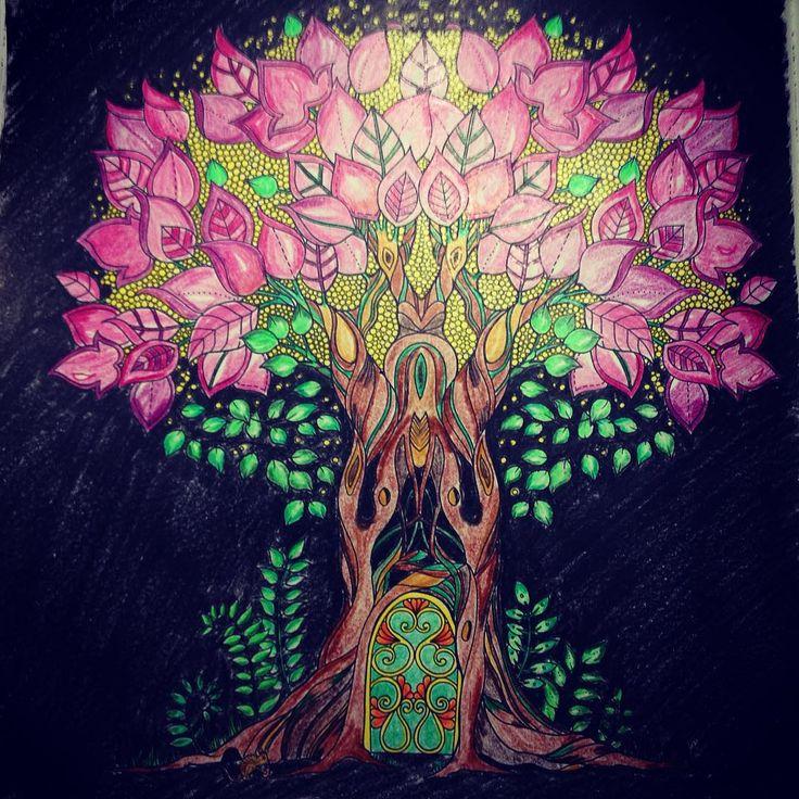 """Nighty night #esrarengizbahçe #gizemliorman #enchantedforest #johannabasford #night #dark #magical #coloringbook #tree #light #colorful"""