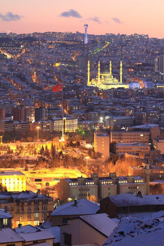 Evening View of Ankara, Turkey