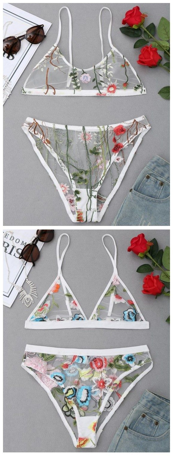 Up to 80% OFF!  Embroidered Mesh Bralette Set. #Zaful #Underwear #intimates zaful,zaful outfits,zaful dresses,spring outfits,summer dresses,Valentine's Day,valentines day ideas,cute,casual,classy,fashion,style,panties,bodysuit,heidi klum,intimates,lingerie,bra,lace bra,push up bra,nighty,undergarment,pajamas,wedding lingerie,sleepwear,sexy,victoria's secret,bustier,intimates apparel,intimates couples,lingerie seductive,dirty,intimates sexually @zaful Extra 10% OFF Code:ZF2017