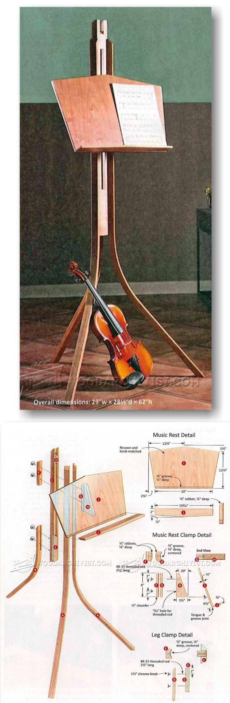 Wooden Music Stand Plans - Woodworking Plans and Projects | WoodArchivist.com