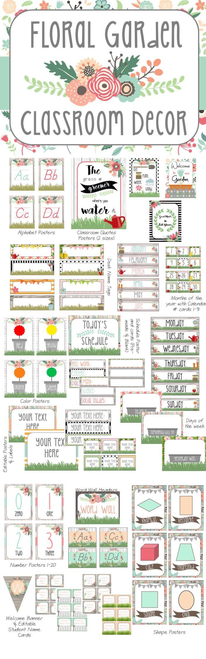 floral garden rustic themed decor pack - Classroom Design Ideas