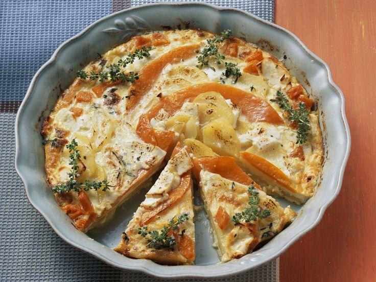 Kartoffelgratin mit Kürbis und Feta
