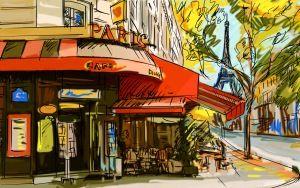 Preview wallpaper france, cafe, picture, paris