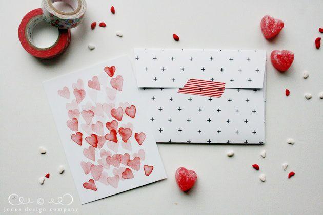 free set of valentine note cards + envelopes