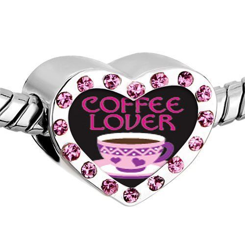 Pugster Pink Swarovski Crystal Coffee Lover Photo Heart Silver Plated Beads Fits Pandora Charm Chamilia Biagi Bracelet Pugster. $16.49. Color: Pink. Size (mm): 12.95*7.4*10.31. Weight (gram): 2.8. Metal: Crystal