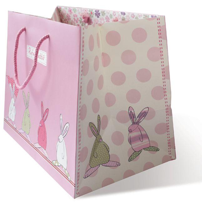Rufus Rabbit Gavepose Stor Rosa. Stor nydelig gavepose med båndhåndtak som er den perfekte prikken over i-en til gaver. Dette er en vakker måte å gi Rufus gaver på med et stort smil!