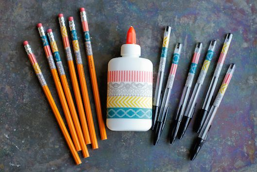 DIY Washi Tape Personalized School Supplies