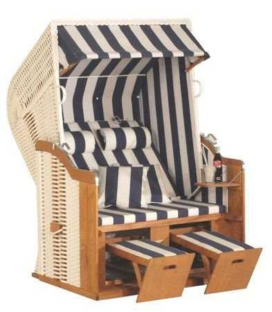 Eurita Strandkorb Knight Blue & White Luxury Garden/Beach Lounge Chair. Clearly, I need this!