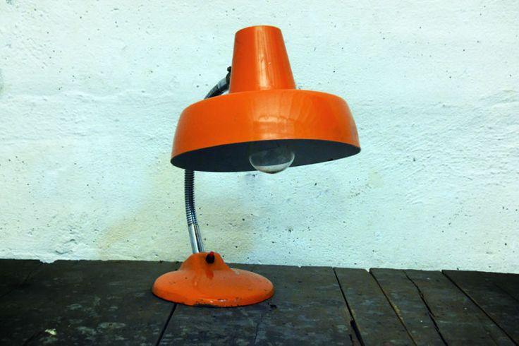 reEDITION vintage industrial interior -orange lamp from the workshop.