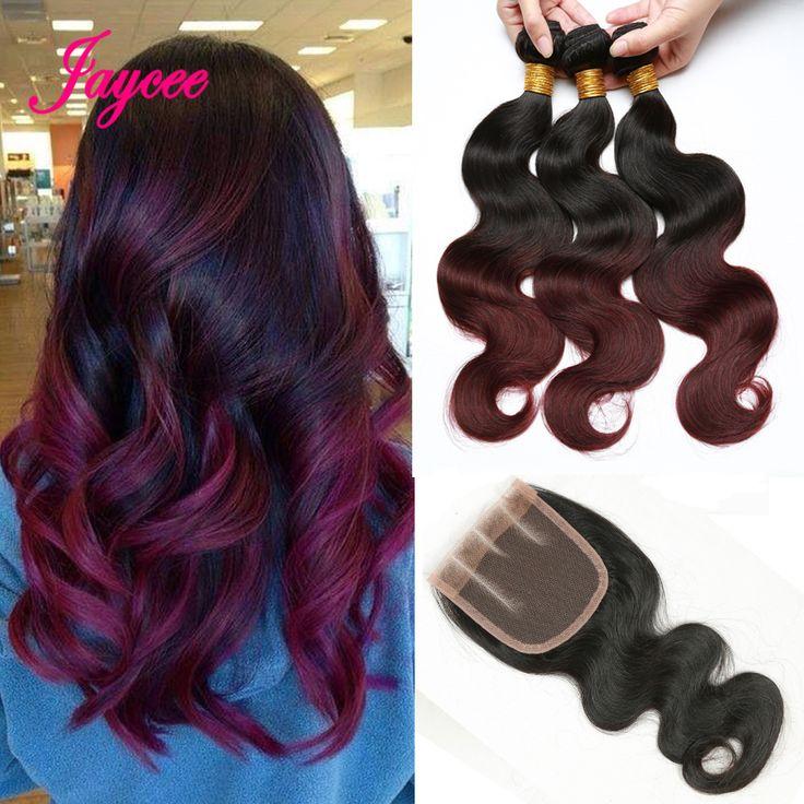 Malezyjski Ciało fala z zamknięciem Burgundii 1b99j ombre malezja wiązki włosów rosa produkty do pielęgnacji włosów, wiązki włosów z zamknięcia koronki