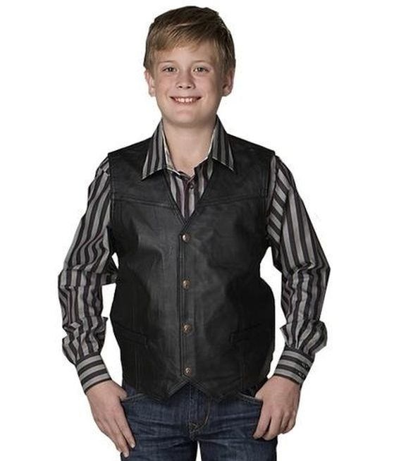 Cripple Creek Kids Apparel - Black Leather Vest style - MLK1059. Now available at Billy's Western Wear!