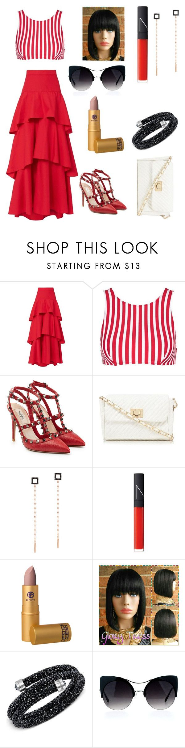 """""""Untitled #501"""" by mamatoodie-1 ❤ liked on Polyvore featuring MDS Stripes, Araks, Valentino, Red Herring, Lana, NARS Cosmetics, Lipstick Queen and Swarovski"""
