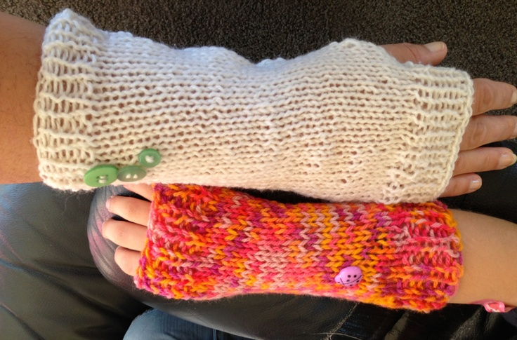 Made Molly longer multi coloured hand warmers and made a pair for me. Am on a roll