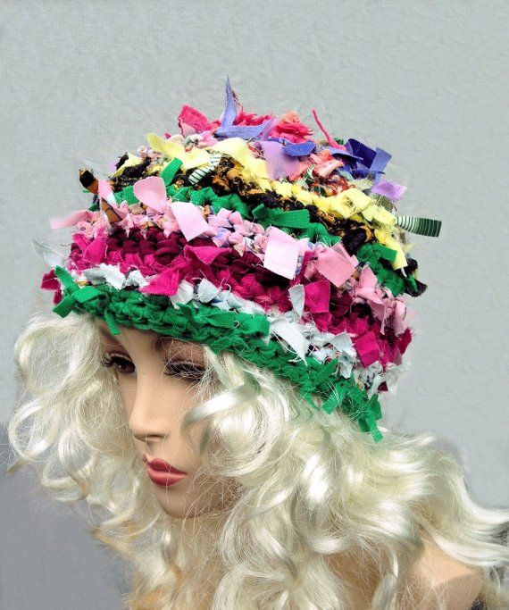 9b5c358c0354f Unique handmade hat for women rag hat bohemian crochet crazy funky hat  refashioned upcycled beanie winter hat chemo hat festival clothing