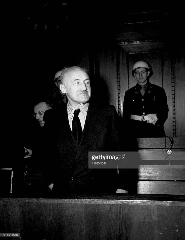 Julius Streicher, the 'Jew-baiter', in the defendants' dock during the Nuremberg trials.