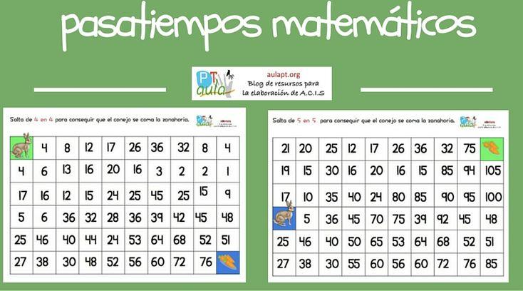 Pasatiempos matemáticos: Series de 4 en 4 y de 5 en 5