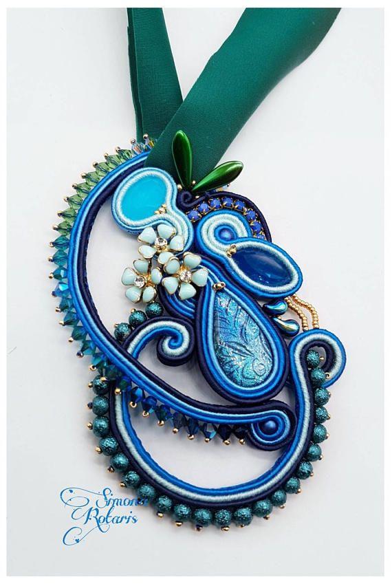 Soutache pendant Handmade cabochon Swarovski bicone Glass beads 11 cm in lenght