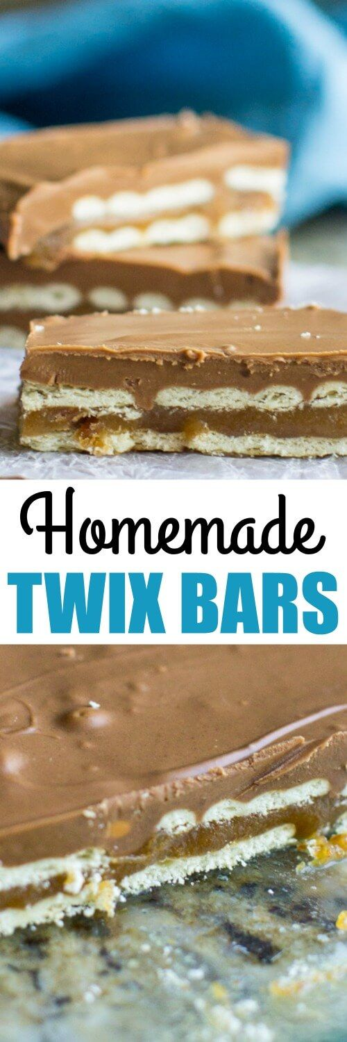 Homemade Twix Bars made with crackers, homemade caramel, chocolate, butterscotch, and peanut butter. These no-bake treats are quick, easy, and addictive!