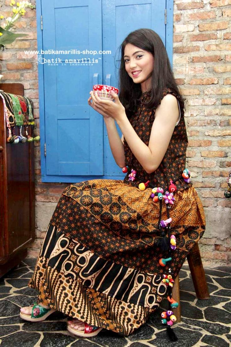 Batik Amarillis made in Indonesia    Batik Amarillis's Birthday skirt maxi & birthday knick knack ( the model wear as belt!) celebrating Batik Amarillis 7th Anniversary with 7 layers of beautiful hand drawn batik classy & classic batik Sragen  patchwork Maxi skirt!!