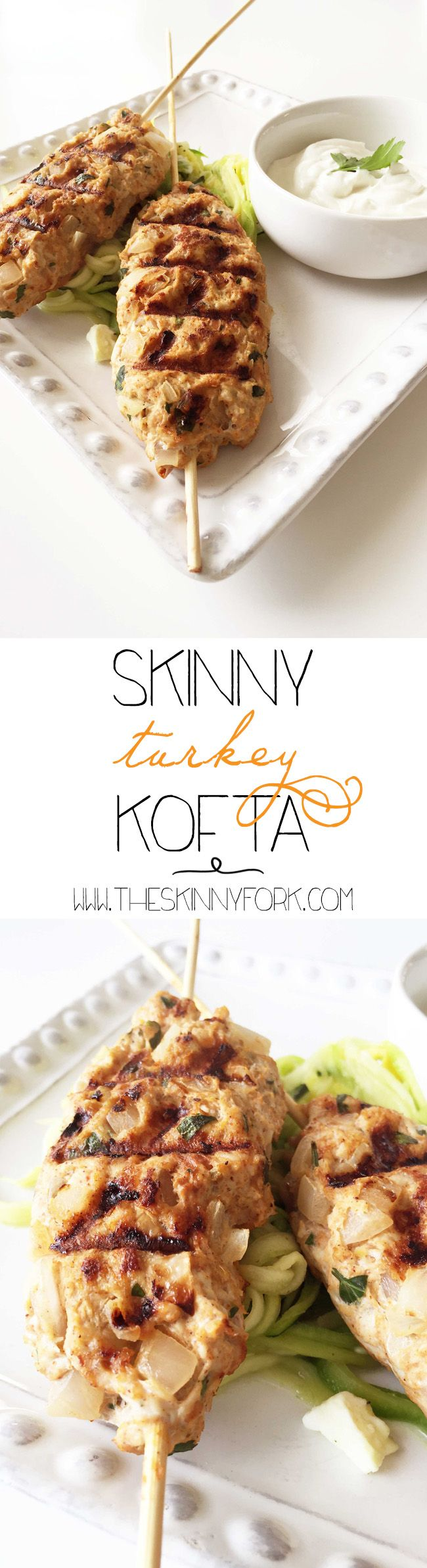 Skinny Turkey Kofta - Ground turkey, spices, lemon and onions cooked and served with a lemon tahini dip! Great for grilling too. TheSkinnyFork.com
