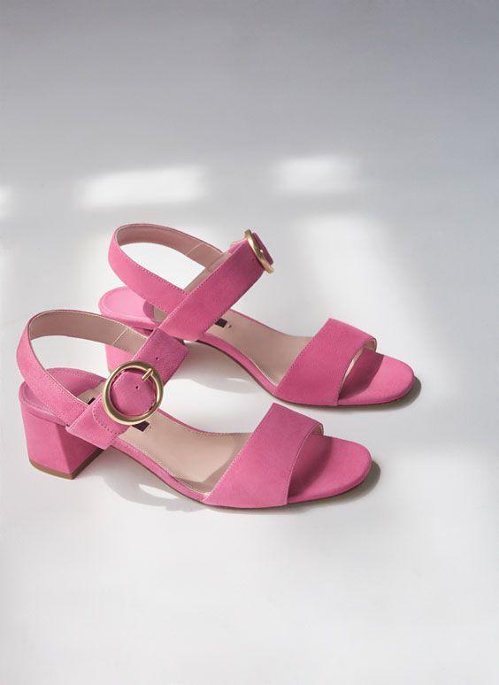 Uterqüe España Product Page - Calzado - Sandalias tacón medio - Sandalia rosa hebilla - 79