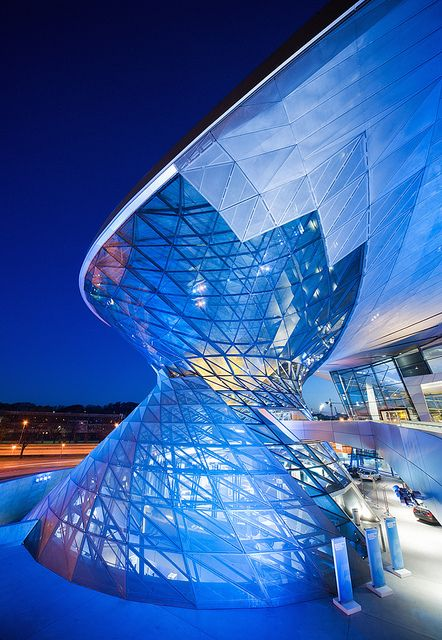"""Germany. Munich. BMW Museum interactiv. Located in bowl-building by Karl Schwanzer near the """"four-cylindered"""" BMW Headquarters, are displayed all models of cars and motocycles, ever produced by BMW."""