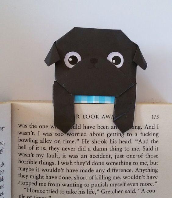 Paper Dog Bookmark , Unique Origami Pug Bookmark, Black Pug, Cool ...