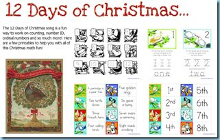 12 Days of Christmas awesome free printables.